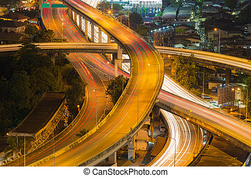Interchanged highway aerial view