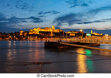 Long exposure of Buda Castle at night, above the Danube River, in Budapest