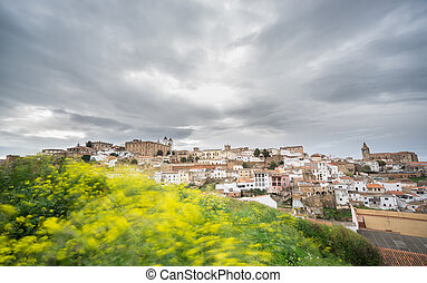 Long exposure of Caceres with cloudy sky