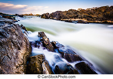 Long exposure of cascades on the Potomac River at Great Falls Pa