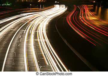 traffic at night - Long exposure of freeway traffic at...