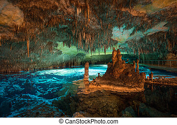 Long exposure of lake and cave, stalactites and stalagmites...
