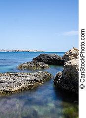 Long exposure of rocky shore