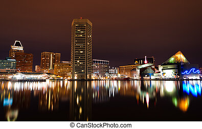 Long exposure of the Baltimore Skyline and Inner Harbor at...