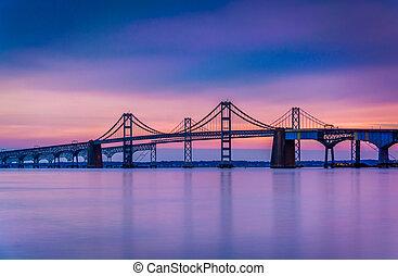 Long exposure of the Chesapeake Bay Bridge, from Sandy Point...