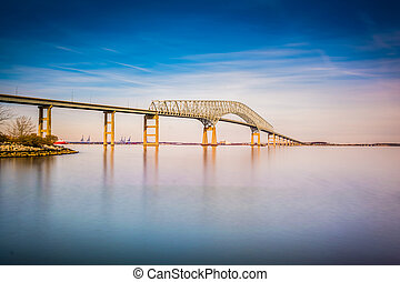 Long exposure of the Francis Scott Key Bridge from Fort...