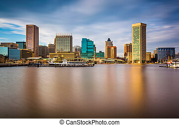 Long exposure of the skyline at the Inner Harbor in Baltimore, M