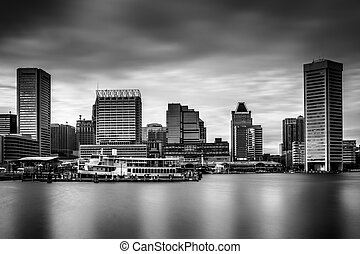Long exposure of the skyline in Baltimore, Maryland.
