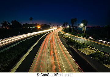 Long exposure of traffic on US 101 at night, in Ventura, Califor