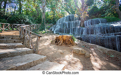 Long exposure of waterfall and track at Monasterio de Piedra...