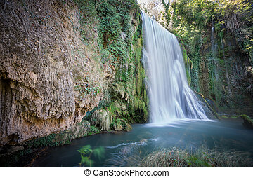 Long exposure of waterfall at Monasterio de Piedra, Spain - ...
