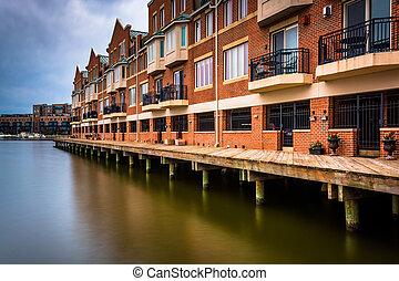 Long exposure of waterfront condominiums in Fells Point,...