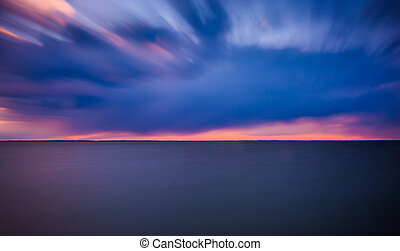 Long exposure on the Chesapeake Bay at sunset, from Tilghman Island, Maryland.