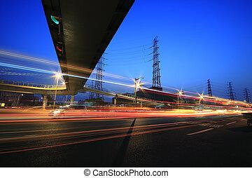 Long exposure photographs of urban night dusk road traffic