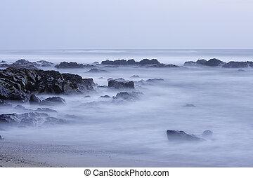 Long exposure seascape - Long exposure rocky seascape at ...