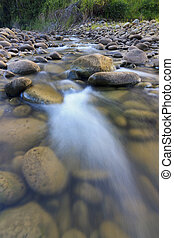 Long exposure shot of a stream in t