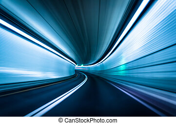 Long exposure taken in the Fort McHenry Tunnel, Baltimore,...