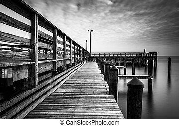 Long exposure taken on the pier in Chesapeake Beach,...