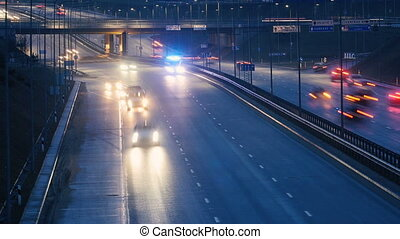Long Exposure Time Lapse of Night Traffic in Vilnius,...