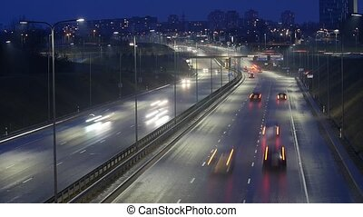 Long Exposure Time Lapse of Night Traffic in Vilnius, Lithuania.