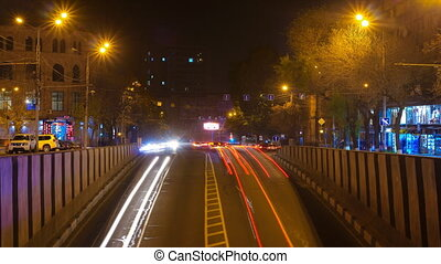 Long Exposure Time lapse of Night Traffic Cars in Yerevan