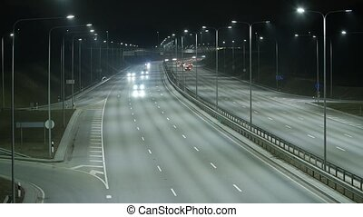 Long Exposure Time Lapse of Western Bypass Night Traffic in...