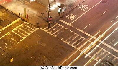 long exposure timelapse shoot of manhattan street scene with...