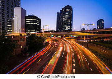 Long exposure traffic scene of tokyo