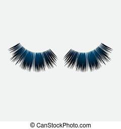 Long eyelashes - Long colored false eyelashes. Salon eyelash...