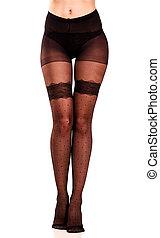 Long female legs in pantyhose