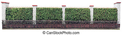 Long fence with columns from white bricks