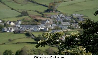 Long focus shift of Irish town - Long shot with shifting...