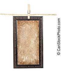 Long Frame with aged paper on a line