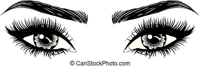 long, fronts, yeux, cils