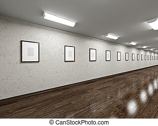 Long gallery with blank pictures on the wall