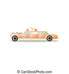 Long gold color just married limousine with flowers and rings