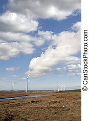 bogland with wind turbines