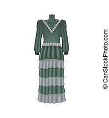 Long green dress. vector illustration