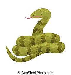 Long green snake. Vector illustration on white background.