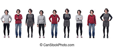 long group of photos of a woman with different dresses on white background