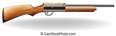 Close up long gun with wooden handle