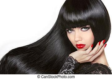 Long Hair. Beautiful Brunette Girl. Healthy Black Hairstyle. Red