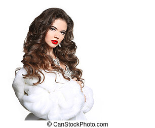 Long hair. Beautiful Woman in Luxury white mink Fur Coat. Fashion jewelry accessories. Beauty Makeup. Elegant lady isolated on white background.