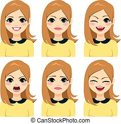 Long Hair Blonde Woman Expressions