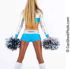 Picture of a long-hair cheerleader with pom-poms, seen from the back