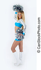 Smiling blond hair cheerleader with pom-poms.