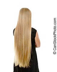 Long hair - Girl with long hair, isolated on while