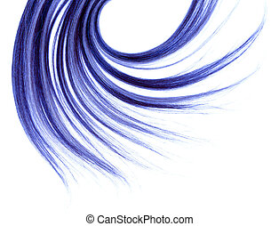 long hair - long blue hair style on white isolated...