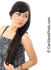long hair pretty asian woman