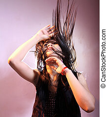 long hair style in motion